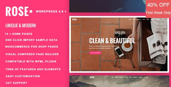 Rose - Responsive Multi-Purpose WordPress Theme